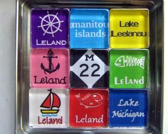 LELAND Michigan, M22, Manitou Islands, Up North, Michigan Magnets Set, Northwest Michigan Souvenir, Sleeping Bear Dunes, Fishtown, Leelanau