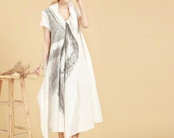 White Loose Fitting  Linen Long Maxi Dress