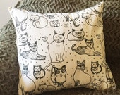 Pillow Cover - Cats - 18 x 18 Hand Printed Design