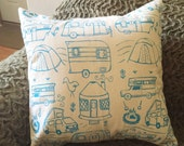 Pillow Cover - Camping - 18 x 18 Hand Printed Design