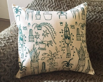 Pillow Cover - Houseplants - 16 x 16 Hand Printed Design