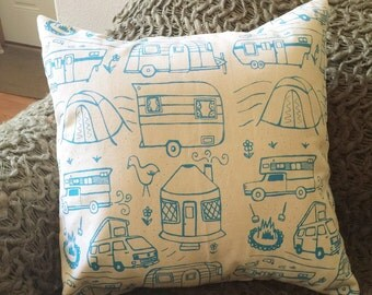 Pillow Cover - Camping - 16 x 16 Hand Printed Design