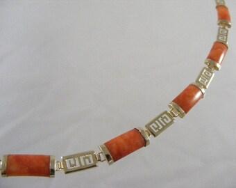 14K Yellow Gold Red Jadeite Link Bracelet.....   Lot 4175