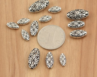 925 sterling silver mala beads, sterling silver OVAL, OVAL beads, Thai Silver beads, Cutout beads, hill tribe silver oval beads,