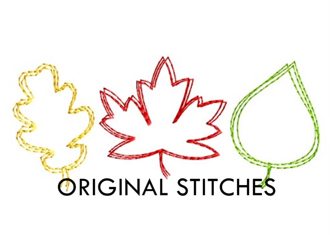 Quick Stitch Fall Maple Oak And Birch Leaves Embroidery