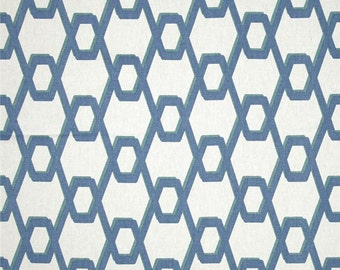 "Two  96"" x 50""  Custom Curtain  Panels - Geometric Wired - Ocean Medium Blue  NEW"