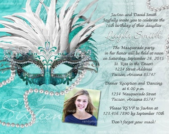 DIY Personalize Masquerade Ball Invitation, Sweet 16 Party, Masquerade Invite, Teal