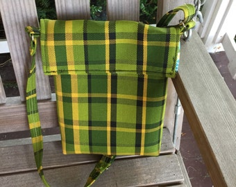Green Westfalia Plaid Messenger Bag