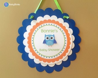 Door Sign: Boy Owls in Blue, Green & Orange - Baby Shower Birthday Party Decorations Garland Photo Prop