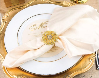100pcs Napkin Rings, Rhinestone Wedding Crystal Napkin Rings Table Decor Wedding Bling, 412-G-N