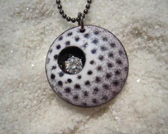 Polka Dot Necklace Enamel Jewelry Artisan Jewelry