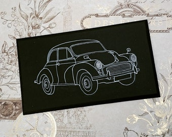 MORRIS MINOR Illustration Retro Classic Car Wooden Hanging Sign Plaque Hand Painted Gift