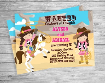 COWGIRL THEME TWINS Birthday party, Custom Personalized Invitation -Digital File, Diy Printable File