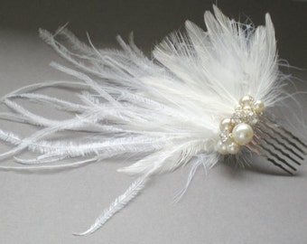 CRAZY SALE  Bridal Ostrich Feather Comb... Fascinator .. Chic Prom  Elegant Evening Wear. Holiday.