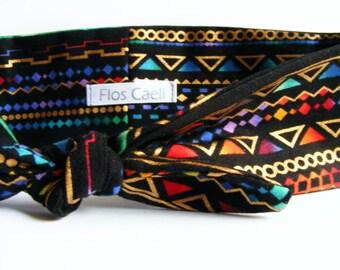 Tribal Print Headband - Bohemian Summer Turban - Multicolor Headband - Gold Headband - Bandanas - Headbands - Turbans - Retro Accessory