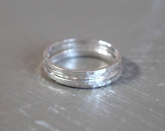 Sterling Silver or 14k Gold Filled Stacking Rings, Hammered Silver, Thin Stackable Rings