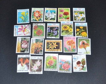 50 flower stamps from around the world