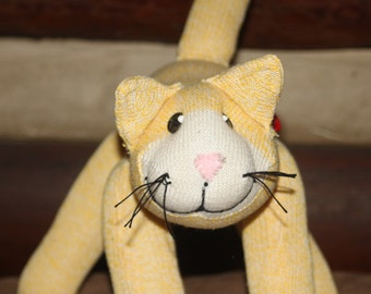 Handcrafted Sock Monkey Yellow Cat