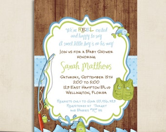 Rustic Fishing Baby Shower Invitation  Gone Fishing Fish And Rod   Printed  Or Digital Invite