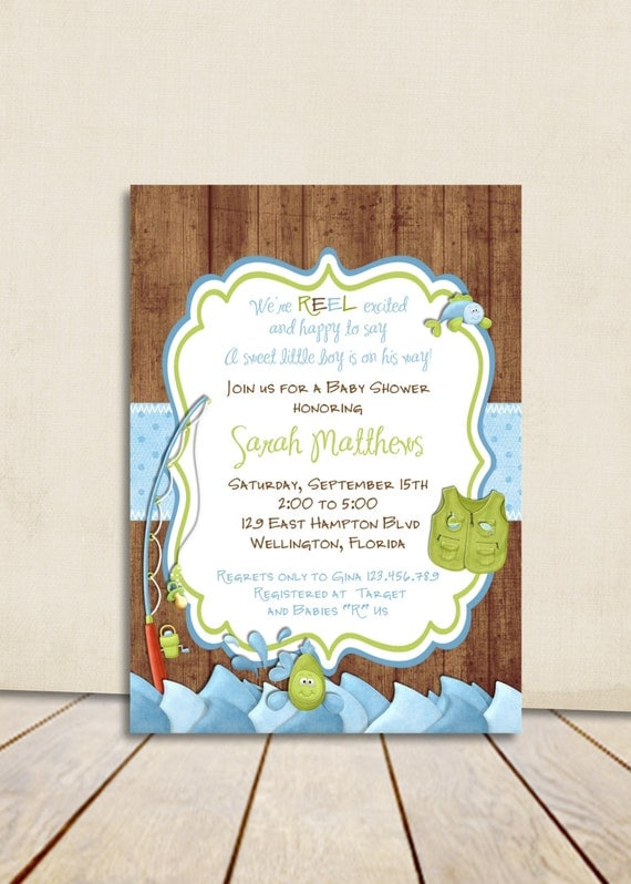 rustic fishing baby shower invitation gone fishing fish and rod