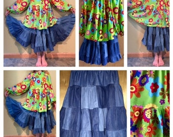 Flowered Peasant Top and Patchwork Denim Skirt, girls size 8/10