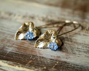 Antiqued Silver Ivy Leaf & Czech Bellflower Earrings in Pale Blue