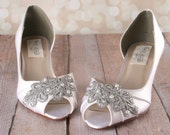 Ivory Wedding Shoes -- Ivory D'Orsay Style Kitten Heel Peeptoe Wedding Shoes with Silver Lace Applique