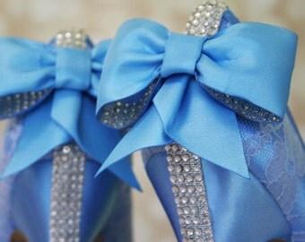 Capri Blue Wedding Shoes / Lace Bridal Heels / Blue Lace Shoes / Bow Wedding Shoes / Crystal Heel Bridal Shoes / Closed Toe Wedding Shoes