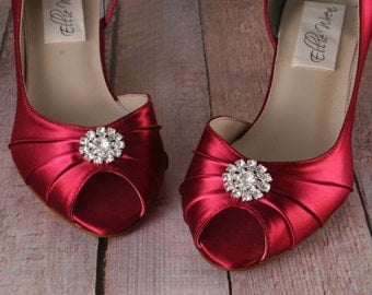 Wedding Shoes -- Rouge Kitten Heel D'Orsay Style Peeptoe Custom Wedding Shoes with Simple Rhinestone Adornment