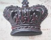 Extra Large Royal Crown Brass Stamping, Wicked Sassy Patina