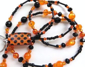 WILD ORANGE- Beaded ID Lanyard- Czech Druk Beads, Agate Gemstones, and Sparkling Crystals (Magnetic Clasp)