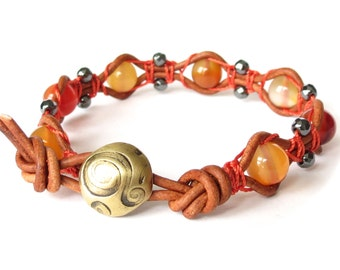 Burnt orange leather bracelet with natural carnelian, womens statement bracelet with artisan handmade brass button, burning sunset colours