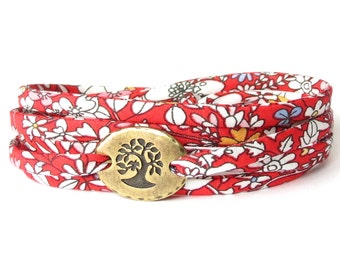 Wrap bracelet with Liberty fabric in rich red and white florals, confirmation gift for girls, UK friendship bracelet, popular bracelets