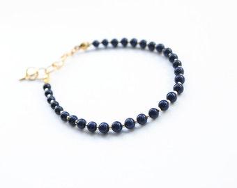 Blue goldstone bracelet, friendship bracelet, navy and gold bracelet, navy bracelet, stone bracelet, charm bracelet, summer trends