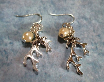 Starfish and Pearl Silver Earrings