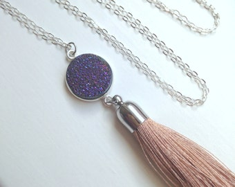 Sterling Silver Purple Druzy Tassel Necklace - Beige Tan Tassel Necklace - Silver Purple Druzy Jewelry - Beige Tassel Jewelry