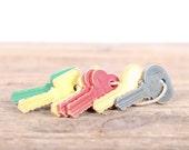 Vintage Plastic Keys / Colorful Keys Antique Toys / Plastic USA Master Keys / Collectible Toys / Unique Gift