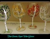 Aspen Tree Wine Glasses (four seasons)