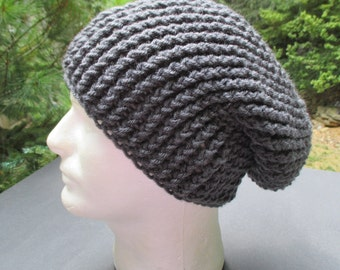 """Crocheted Slouchy Ribbed Hat - Unisex - Charcoal Grey Beanie 18"""" - 22"""""""