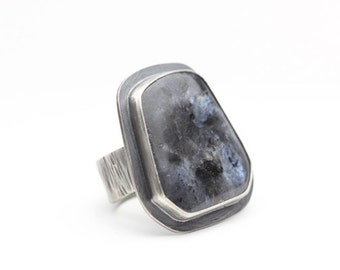 AAA Larvikite Ring, Norwegian Moonstone, Sterling Silver Ring, Blue & Black, Unisex Statement Ring, Size 7.5