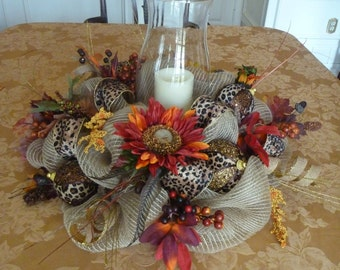 Burlap Mesh THANKSGIVING CENTERPIECE with LEOPARD Ribbon and Fall Sunflowers