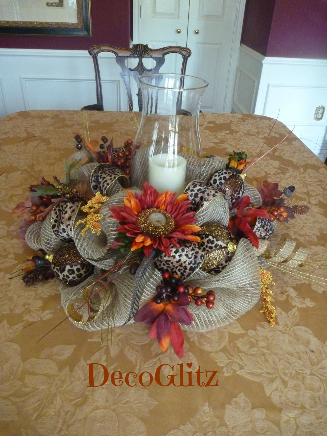 Burlap mesh thanksgiving centerpiece with leopard ribbon and