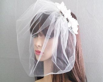 White Bridal Satin Hair Barrette, Satin Flower Pearl Bridal Headpiece, Bridal Headpiece Tulle Blusher