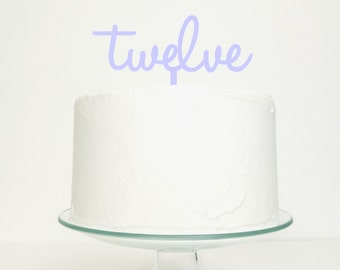 Twelve Personalised Age Number Word Cake Topper - Birthday Celebration Party