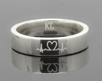 Wedding Band, Wedding Ring, Engagement Ring, Mens Ring, Mens Wedding Band, Man Wedding Ring band, men promise ring, men ring, Heartbeat Ring