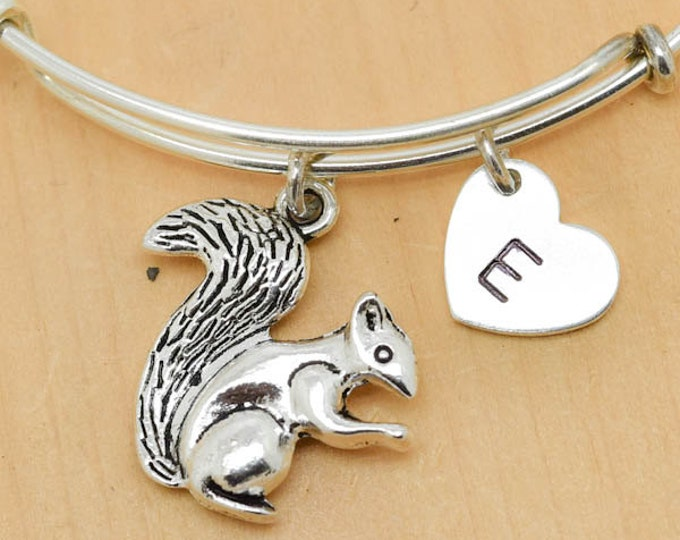 Squirrel Bangle, Sterling Silver Bangle, Adjustable Bangle, Bridesmaid Gift, Initial Bangle, Personalized Bangle, Charm Bangle, Monogram