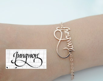 Real Calligraphy Name Bracelet-Bridesmaids Gift