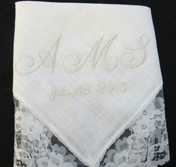 Embroidered Bridal Wedding Handkerchief for the Bride