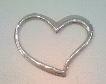 Sterling Silver Open Heart Pendant - 1 1/4 Inch Wide - Jewelry Component Charm Pendant