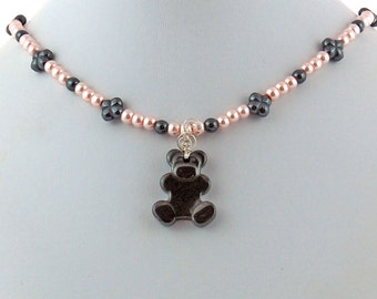 Teddy Bear and Pink Pearl Pendant Necklace, Hematite Teddy Bear Pendant, Gemstone Bead Necklace, Choker Necklace